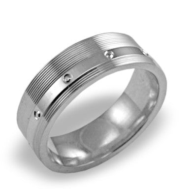 Mens Wedding Band In Platinum - Raised Polished Center Satin Edge