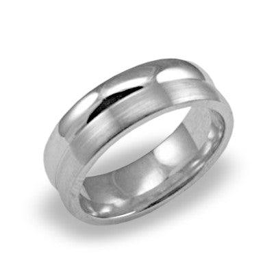 Mens Wedding Band In Platinum - Satin Raised High Polish