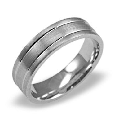 Mens Wedding Band In Platinum - Satin Center Dual Channel