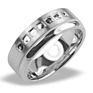 Mens Wedding Band In Platinum - Oval Pattern