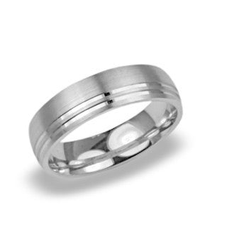 Mens Wedding Band In Platinum - X O Carved