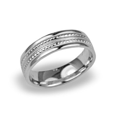 Mens Wedding Band with Milgrain Pattern