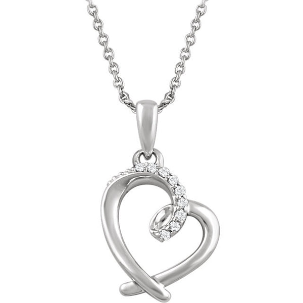 Diamond & Silver Heart Necklace