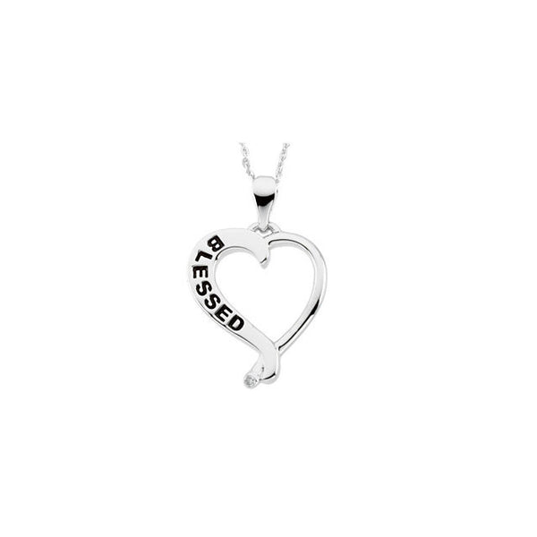 Reversible Blessed Heart Necklace & Chain in Sterling Silver