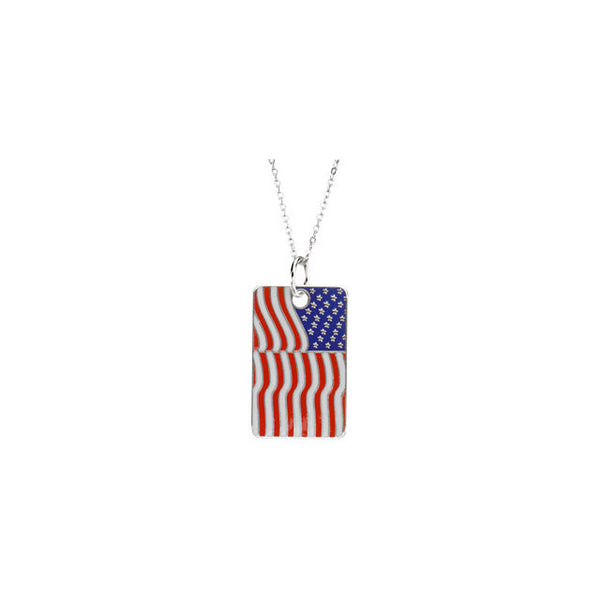 Blessed is the Nation USA Flag Dog Tag & Chain