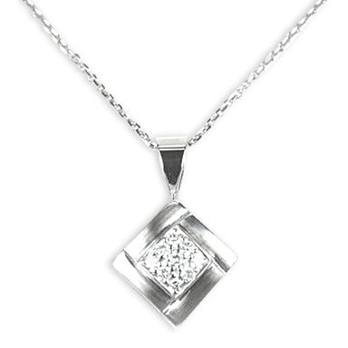White Gold Diamond Pendant with 1/4 Carat Total Weight of Diamonds