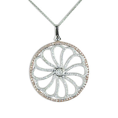 White & Pink Gold Diamond Pendant with 2 1/2 Carat of Diamonds