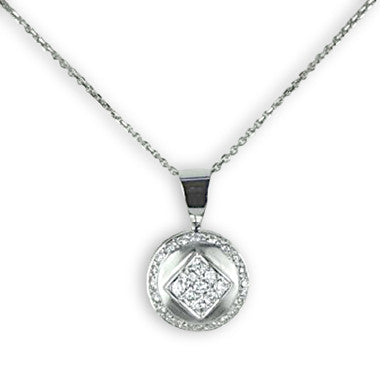 White Gold Diamond Pendant with 1/3 Carat Total Weight of Diamonds