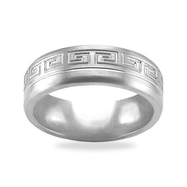 Mens Wedding Band In Platinum - Greek Key Channel Satin