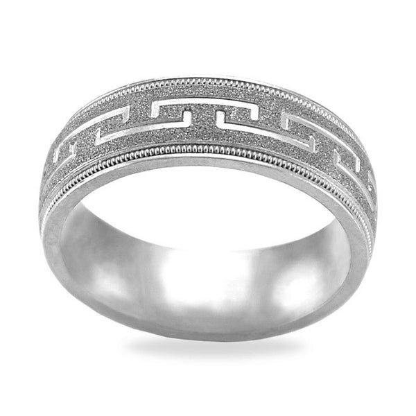 Mens Wedding Band In Platinum - Greek Key Textured