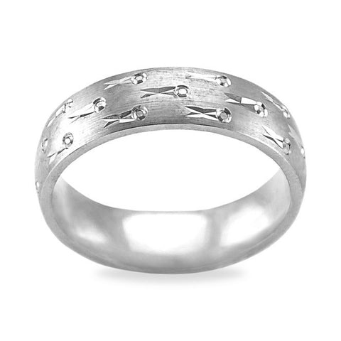 Mens Wedding Band with a Fish Pattern