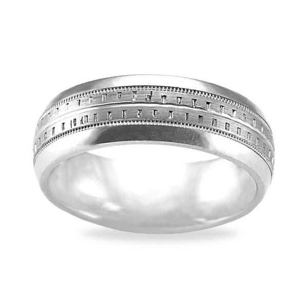 Mens Wedding Band In 14K White Gold - Square Pattern Dual Row