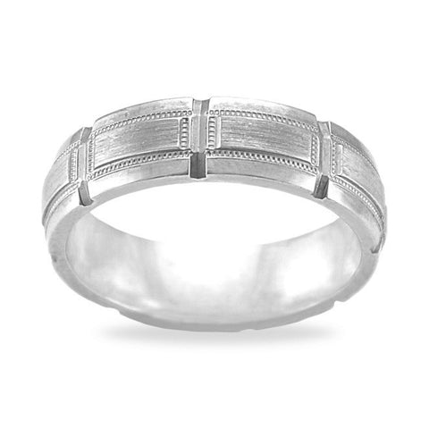 Mens Wedding Band In Platinum - Carced Circle Pattern