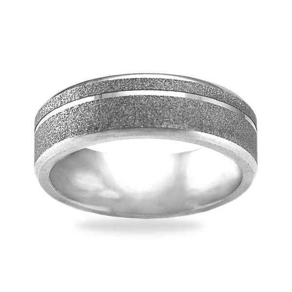 Mens Wedding Band In Platinum - Dial Channel Textured
