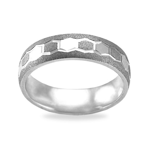 Mens Wedding Band In Platinum - Hexagon Pattern