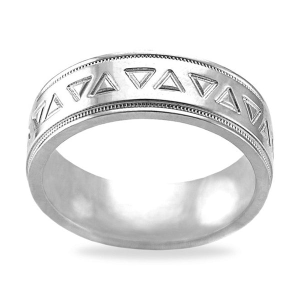 Mens Wedding Band In Platinum - Triangle Pattern