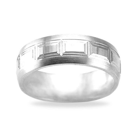 White Gold Ring Mens - Raised Square Pattern Satin