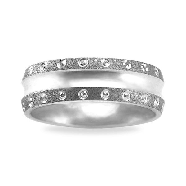 Mens Wedding Band In Platinum - Patterned Edge