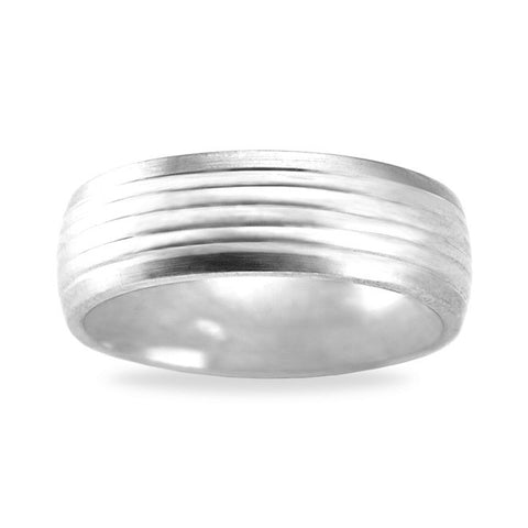 Mens Wedding Band In Platinum - Striped Satin