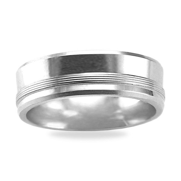 Mens Wedding Band In Platinum - Satin High Polish