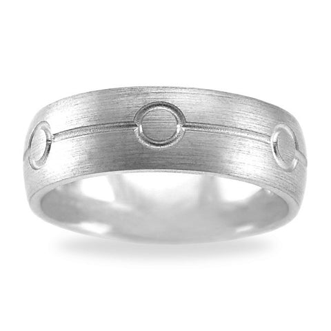 Mens Wedding Band In Titanium - Square Pattern Dual Row