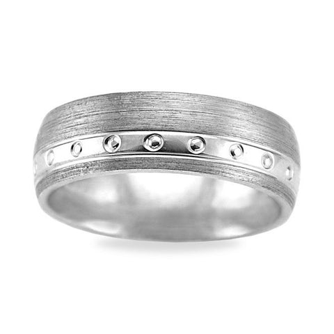 Comfort Fit Men's Wedding Band 14k White Gold - Offset Carved High Polish Circular
