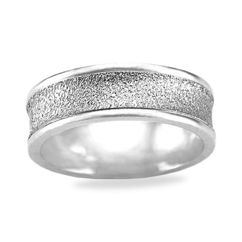 Mens Wedding Band In Platinum - Textured Center Polished Edge