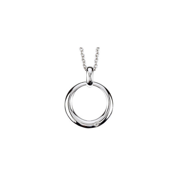 Diamond Circle Necklace in Silver