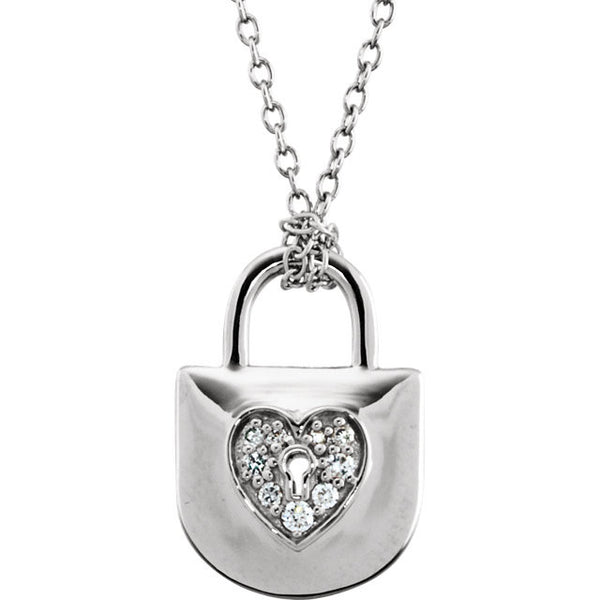 Silver Diamond Heart Necklace & Chain