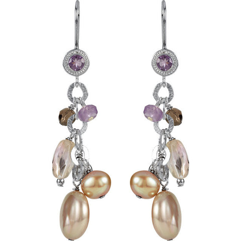 Freshwater Cultured Pearl & Multi Gem Earrings