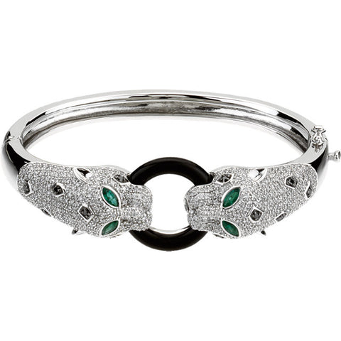 Diamond, Emerald, and Onyx Bracelet