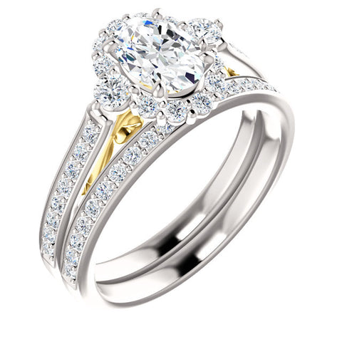 Oval Diamond Wedding Set
