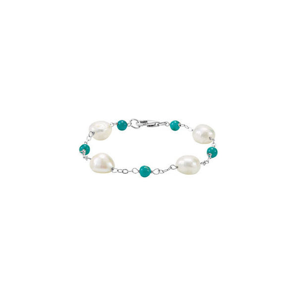 Freshwater Cultured Pearl & Turquoise Bracelet