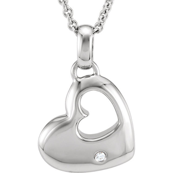 Diamond Heart Necklace in Silver