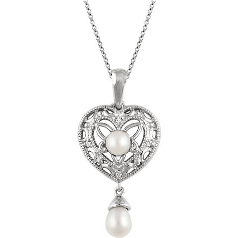 Freshwater Cultured Pearl & Diamond Necklace in Silver