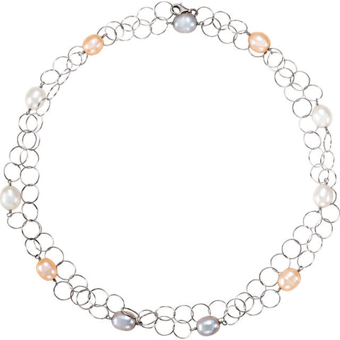 Silver Necklace with Freshwater Multicolor Pearl