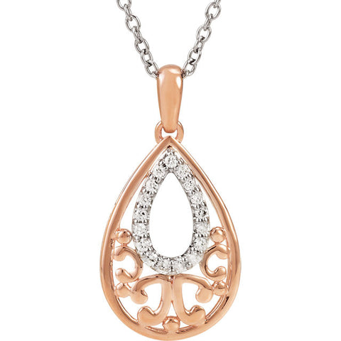 Sterling Silver Necklace with 1/10 Carat Total Weight Diamonds