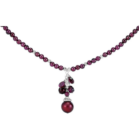 Sterling Silver Freshwater Cultured Pearl & Rhodolite Garnet Necklace