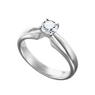 Diamond Ring 1/2 Carat Round Solitaire in 14K White Gold