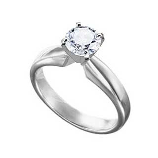 Diamond Ring 1.0 Carat Round Solitaire in 14K White Gold