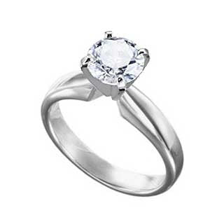 Diamond Ring 1 1/2 Carat Round Solitaire in 14K White Gold