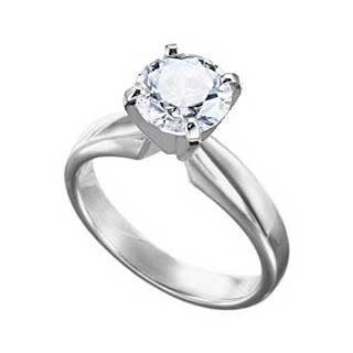Diamond Ring 2 Carat Round Solitaire in 14K White Gold