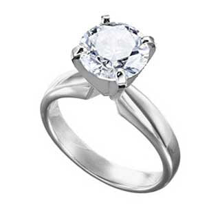 Diamond Ring 3 Carat Round Cut Solitaire in 14K White Gold