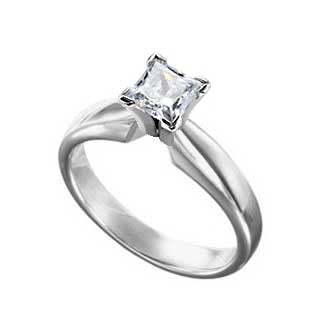 Diamond Ring 3/4 Carat Princess Cut Solitaire in 14K White Gold