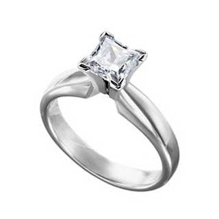 Diamond Ring 1.0 Carat Princess Cut Solitaire in 14K White Gold