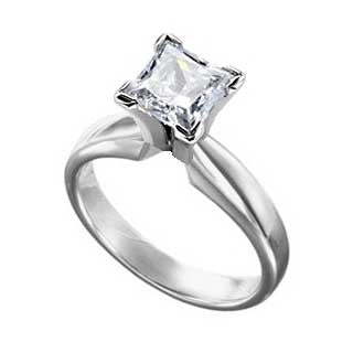 Diamond Ring 1 1/2 Carat Princess Cut Solitaire in 14K White Gold