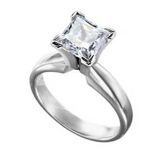 Diamond Ring 2 Carat Princess Cut Solitaire in 14K White Gold