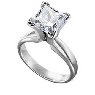 Diamond Ring 3 Carat Princess Cut Solitaire in 14K White Gold