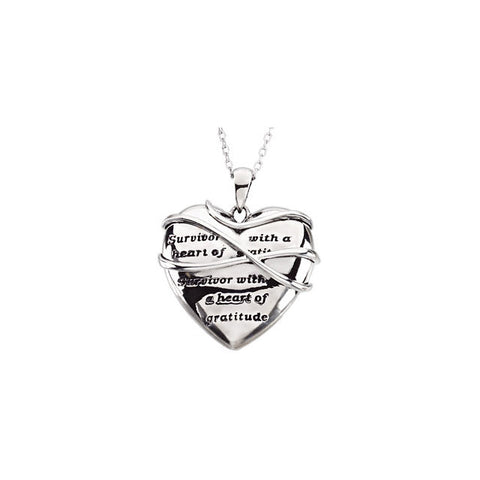 Survivor With a Heart of Gratitude Sterling Silver Necklace