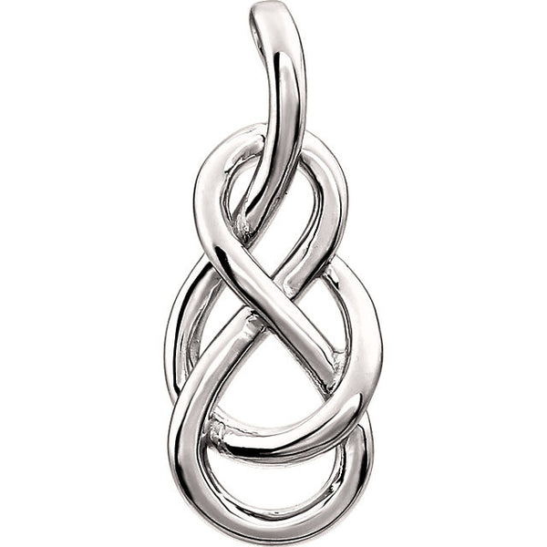 eardrop Knot Design Pendant in 14 Karat White Gold